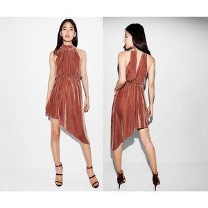 Express Mock Neck Asymmetrical Velvet Dress L
